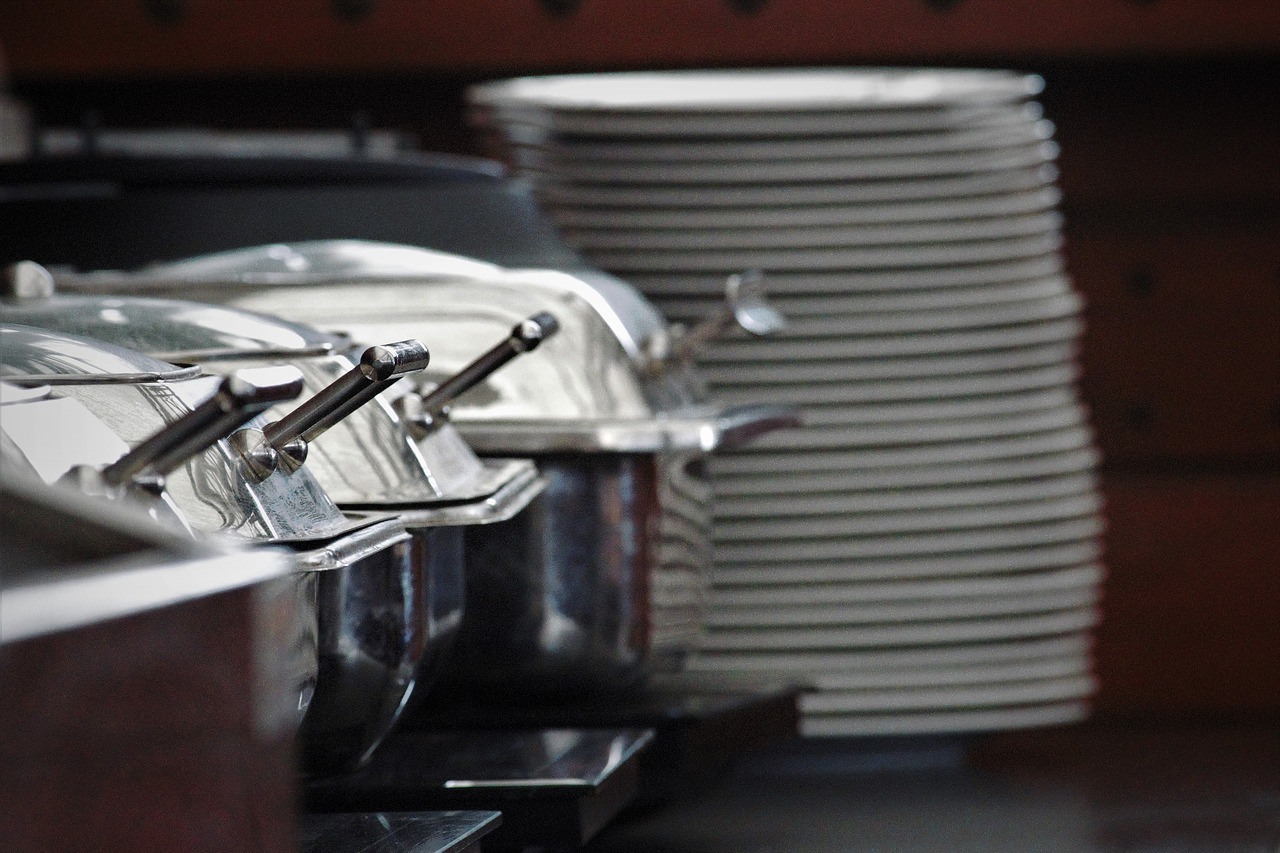 Chaffing Dishes Buffet and Stacked Plates